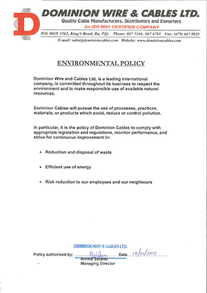 Click to view Environmental Policy